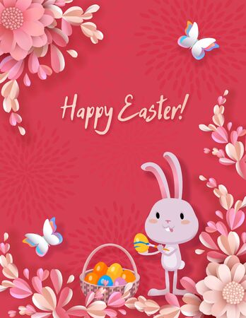 Easter vector banner, 3d flowers, cute bunny colors Easter eggs, basket with colored eggs, butterflies. Festive and advertising background, greeting card with place for text in the style of paper cut