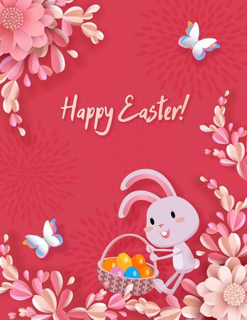 Easter vector greeting card, 3d flowers, cute rabbit drags a basket with colored eggs, butterflies. Festive and advertising background, banner with place for text in style of paper cut