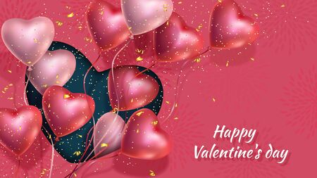 Happy Valentines Day banner with 3d red and pink heart-shaped gel balloons, golden confetti. Illustration