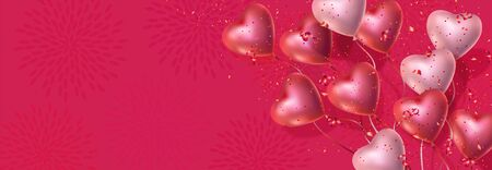 Happy Valentines Day banner with 3d red and pink heart-shaped gel balloons, confetti.
