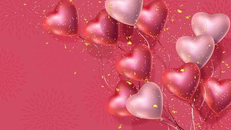 Happy Valentines Day banner with 3d red and pink heart-shaped helium balloons, golden confetti. Illustration