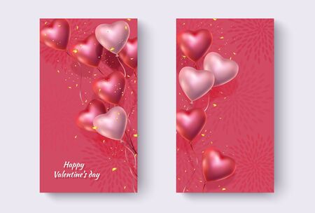 Festive  with red and pink helium balloons in shape of heart and golden glitter.