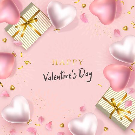 Happy Valentines Day design. 3d pink and silver heart shape helium balloons, golden confetti, gold gifts, flower petals. Set vector background for February 14