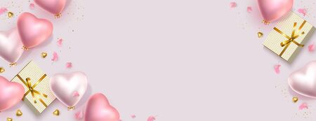 Happy Valentines Day banner. 3d pink gold and silver heart-shaped helium balloons, golden confetti, gifts. Vector horizontal advertising background for February 14, wedding, birthday. Space for text