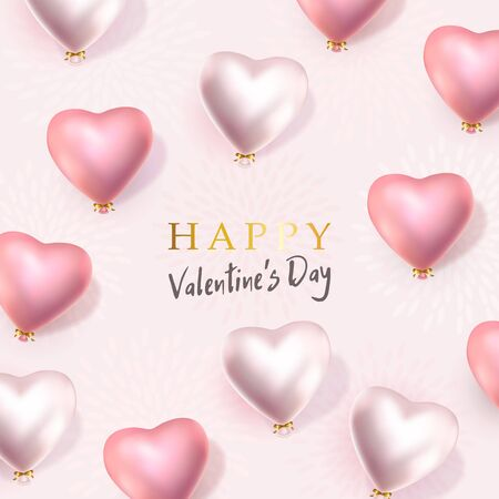 Happy Valentines Day banner. 3d rose and pearl heart-shaped helium balloons. Vector horizontal advertising background for February 14, wedding, birthday. Space for text