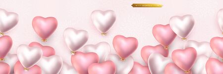 Valentines day, birthday, anniversary seamless border, flying helium pink and pearly balloons in the shape of a heart. Horizontal seamless vector pattern