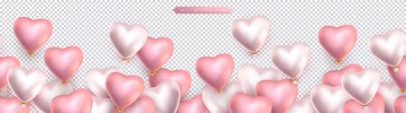 Valentines day, birthday, anniversary seamless border, flying helium pink and pearly balloons in the shape of heart. Horizontal seamless isolated vector pattern, transparent background  イラスト・ベクター素材