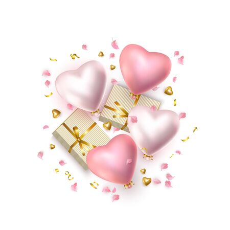 Happy Valentines Day composition, festive greeting card with realistic rose and silver helium heart-shaped balloons, metal heart, golden gift boxes, flower petals, white background. Greeting card