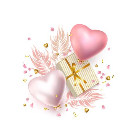 Happy Valentines Day composition, festive greeting card with realistic rose silver helium heart-shaped balloons, metal heart, golden gift boxe, feather, flower petals, white background