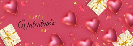 Happy Valentines Day banner. 3d red heart-shaped helium balloons, petals, golden confetti, gifts Illustration