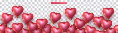 Valentines day, birthday, anniversary seamless border, flying helium red balloons in the shape of heart.