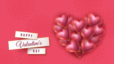 Valentines heart with lot of helium balloons in the shape of heart with golden bows. Red festive banner for Valentines day, wedding, advertisement. Vector illustration
