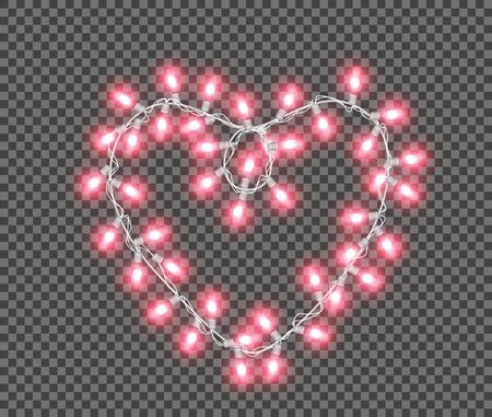 Valentines Day, Christmas, wedding and birthday lights isolated on transparent background. Realistic heart shaped led garland. Glowing neon lamp. Vector