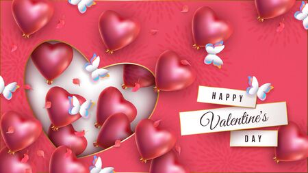 Happy Valentines day vector banner with realistic red heart shaped helium balloons and butterflies. Festive advertising background, romantic greeting card, love festive poster for 14 February