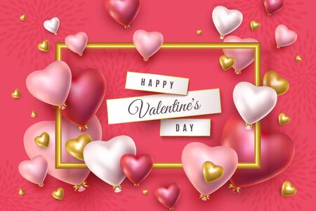 Happy Valentines Day banner. 3d red pink and silver heart shaped helium balloons, gold shape heart, golden frame. Vector advertising background for February 14 Illustration