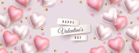 Happy Valentines Day pastel banner. 3d pink gold and silver heart-shaped helium balloons, golden confetti, flower petals. Vector horizontal advertising background for February 14 Illustration