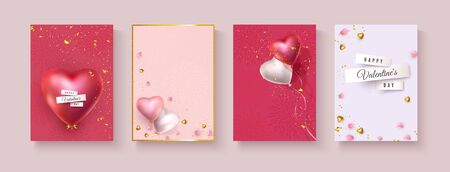 Valentine banners with red pink and white helium balloons in the shape of heart, golden glitter, gift, petals. Design sets A4 Valentines day, birthday, anniversary. Vector background, place for text