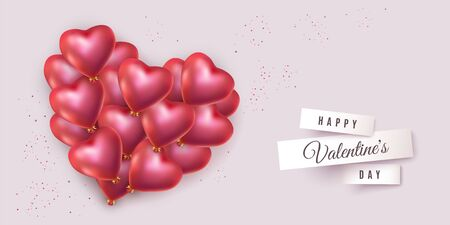 Valentines red heart with lot of helium balloons in the shape of heart with golden bows. festive Light banner for Valentines day, birthday, wedding, advertisement. Vector illustration