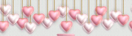 Valentines Day seamless horizontal top border with pink and pearly 3D hearts hanging on gold chains.
