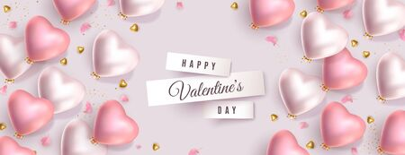 Valentines Day pastel banner. 3d pink and silver heart shaped helium balloons, gold metal hearts, flower petals. Vector horizontal advertising background for February 14