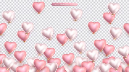 Valentines day, birthday, anniversary seamless border, flying helium pink and pearly balloons in the shape of heart.