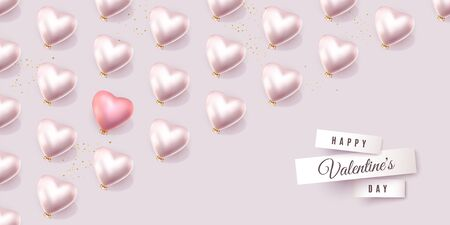 Happy Valentines Day light banner with regular pattern of 3D white hearts and one red heart, minimal holiday vector background