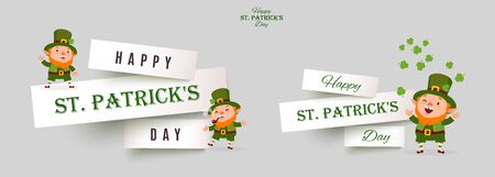 St. Patricks Day set of paper cut banners with leprechauns, festive design elements with funny traditional vector characters on white background