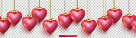 Valentines Day seamless horizontal top border with red 3D hearts hanging on gold chains.