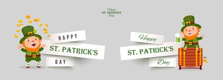 St. Patricks Day set of paper cut banners with leprechauns with gold coins and green beer. Festive design elements with funny traditional vector characters isolated on gray background Illustration