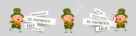 St. Patricks Day banner sale set of paper cut banners with leprechauns with megaphone and tobacco pipe. Illustration