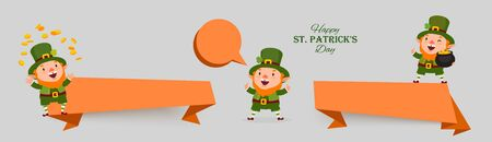 St. Patricks Day set of banners with leprechauns, gold coins, clover, pot of gold in national colors.