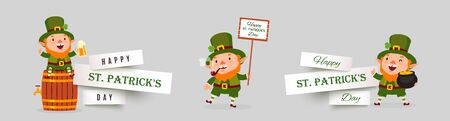Saint Patricks Day set of paper cut vector banners with leprechauns with pot of gold coins, poster, pint of beer. Isolated festive design elements with funny traditional characters