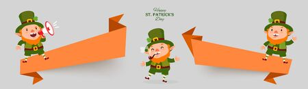 Saint Patricks Day set of banners with leprechauns, smoking pipe, shamrock clover, megaphone in national colors.
