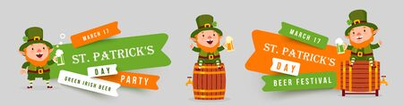 Patricks Day banner beer festival and party, set of paper cut design with leprechauns sitting on beer barrels with pints of green beer. Illustration
