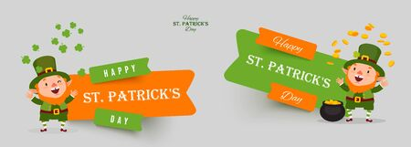 Saint Patricks Day set of paper cut vector banners. Leprechaun with pot of gold juggles with gold coins and clover leaves. Isolated stickers for festive design with funny traditional character