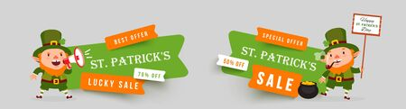 Saint Patricks Day set of paper cut vector banners. Leprechaun with pot of gold, megaphone, clover leaves. Isolated stickers for festive design with funny traditional character