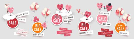 Valentines day sale set round banners, paper cut stickers with funny characters animated hearts. Collection of vector elements for holiday promotions and discounts