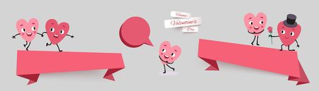 Valentines day sale banners, set paper cut ribbon with funny characters animated hearts. Collection of advertising vector stickers for holiday promotions and discounts