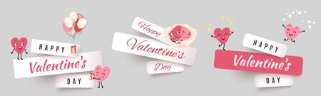 Valentines day paper cut banners, set stickers with funny characters animated hearts. Collection of advertising vector design for holiday promotions and discounts