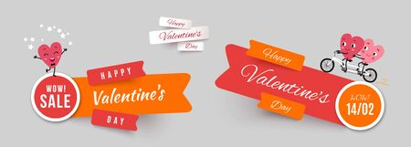 Valentines day banners, set papercut ribbon with funny characters animated hearts. Collection of advertising vector stickers for holiday promotions, sale and discounts
