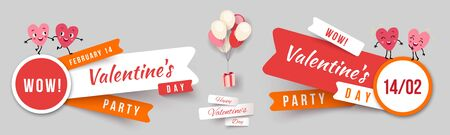 Valentines day party, set paper cut ribbon banners with funny characters animated hearts. Collection of advertising vector stickers for holiday promotions. Vector illustration Illustration