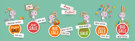 Easter sale set of round banners with cute bunnies and easter eggs. Isolated vector clipart with amusing rabbits for festive design and advertising