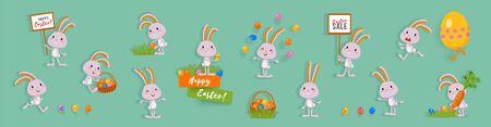 Grand ensemble de lapins de Pâques mignons avec des œufs de Pâques, de l'herbe, des bannières. Lapins drôles, personnages vectoriels isolés pour un design festif