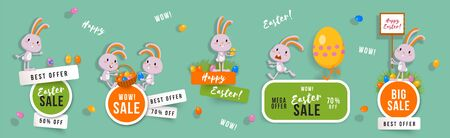Easter sale set of banners with cute bunnies and Easter eggs. Isolated vector clip art with amusing rabbits for festive design and advertising