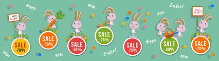 Easter discounts set of round banners with cute bunnies and Easter eggs. Isolated vector clip art with amusing rabbits for festive sale and advertising design Illustration