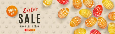 Happy Easter Sale banner. Beautiful horizontal template with painted orange 3D eggs and floral