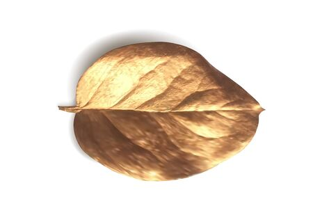 Gold realistic leaf of a tree. Golden iIsolated vector object on a white background