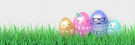 Easter design Family of Easter eggs in a meadow in green grass.