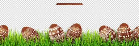 Easter border with chocolate easter eggs hidden in green meadow grass Isolated on a transparent