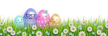 Easter design Family of Easter eggs in green grass and flowers